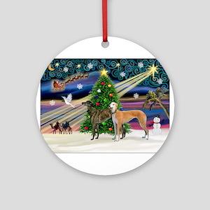 XmasMagic/2Greyhounds Ornament (Round)