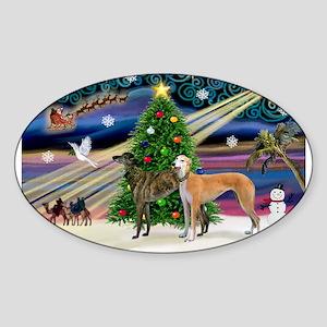 XmasMagic/2Greyhounds Sticker (Oval)