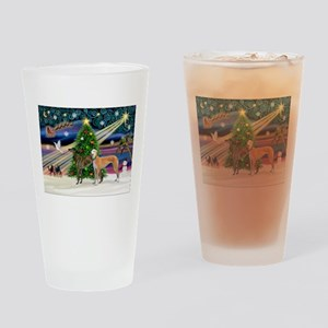 XmasMagic/2Greyhounds Drinking Glass