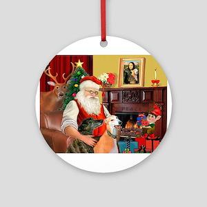 Santa's Greyhound pair Ornament (Round)