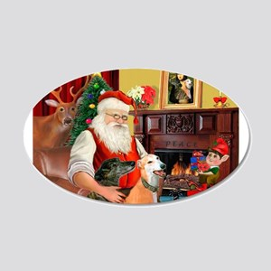 Santa's Greyhound pair 22x14 Oval Wall Peel