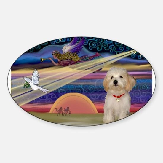 XmasStar Havanese pup Sticker (Oval)