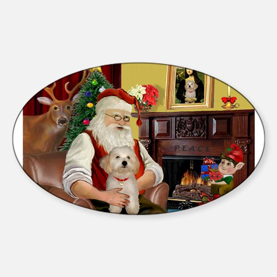 Santa's Havanese Puppy Sticker (Oval)