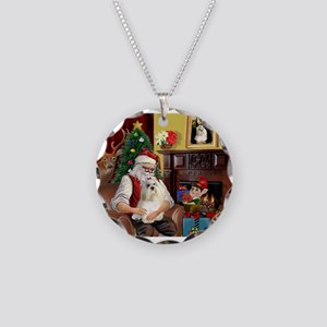 Santa's Havanese Necklace Circle Charm
