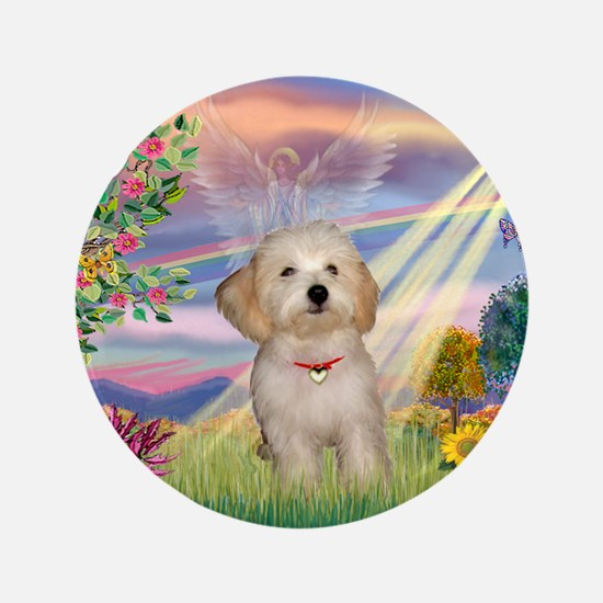 "Cloud Angel /Havanese pup 3.5"" Button"
