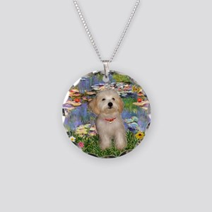 Lilies & Havanese Pup Necklace Circle Charm