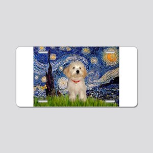 Starry Night Havanese Pup Aluminum License Plate