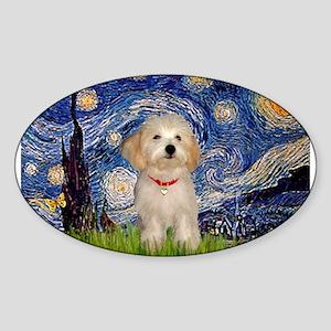 Starry Night Havanese Pup Sticker (Oval)