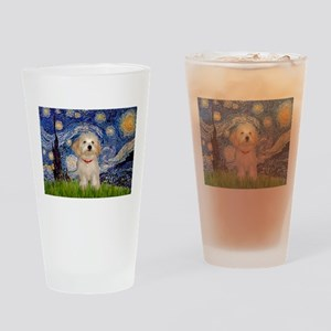 Starry Night Havanese Pup Drinking Glass