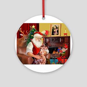 Santa's Irish Setter Ornament (Round)
