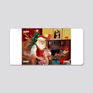 Santa's Irish Setter Aluminum License Plate