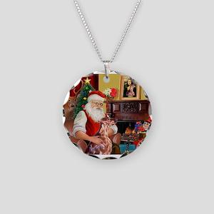 Santa's Irish Setter Necklace Circle Charm