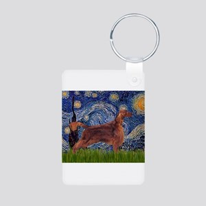 Starry Night Irish Setter Aluminum Photo Keychain