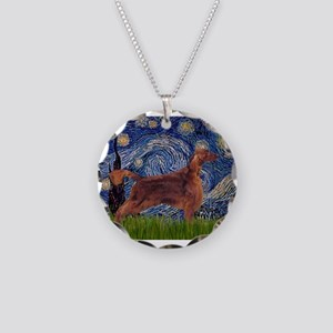 Starry Night Irish Setter Necklace Circle Charm