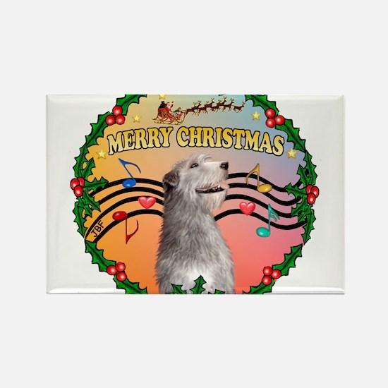XmasMusic2/Irish Wolfhound Rectangle Magnet