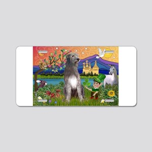 Irish Elf & Irish Wolfhound Aluminum License Plate