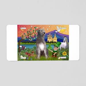 Irish Elf & Irish Wolfhound Aluminum License Plate