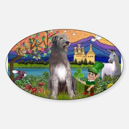 Irish Elf & Irish Wolfhound Sticker (Oval)