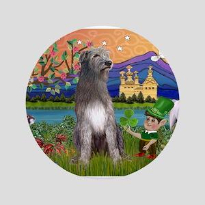 "Irish Elf & Irish Wolfhound 3.5"" Button"