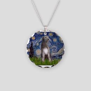Starry/Irish Wolfhound Necklace Circle Charm