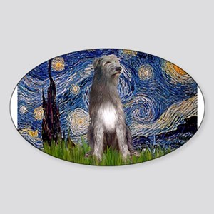 Starry/Irish Wolfhound Sticker (Oval)