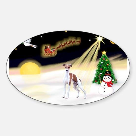 Night Flight/Ital Greyhound Sticker (Oval)