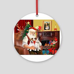 Santa's 2 JRT's Ornament (Round)
