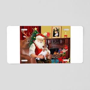 Santa's Jack Russell Aluminum License Plate