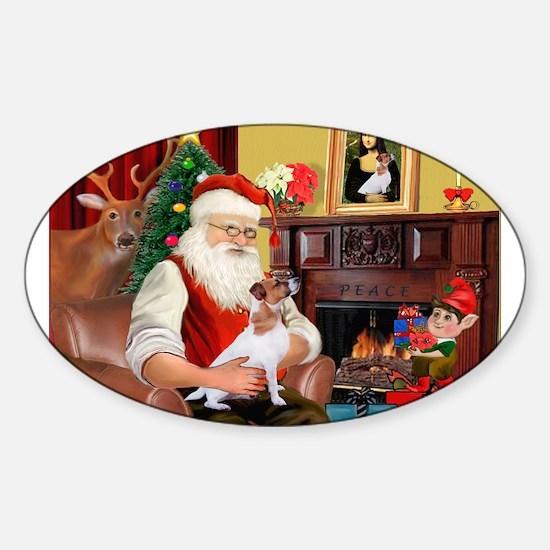 Santa's Jack Russell Sticker (Oval)