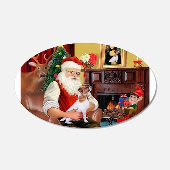 Santa's Jack Russell 22x14 Oval Wall Peel