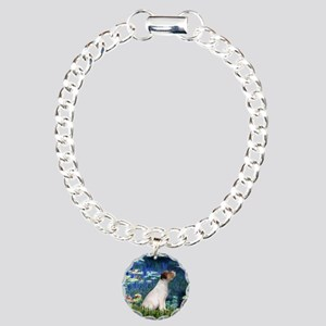 Jack Russell & Lilies Charm Bracelet, One Charm