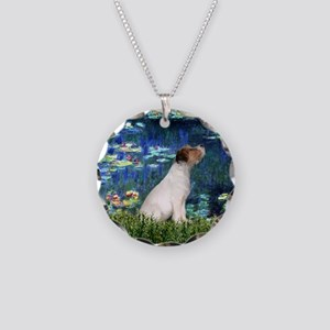 Jack Russell & Lilies Necklace Circle Charm