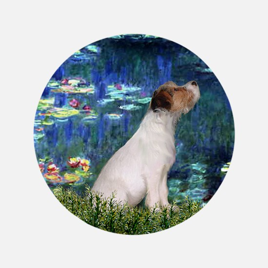 """Jack Russell & Lilies 3.5"""" Button"""