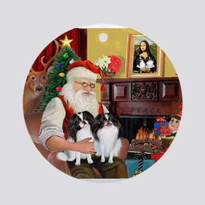 Santa's 2 Japanese Chins Ornament (Round)