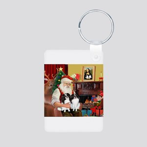 Santa's 2 Japanese Chins Aluminum Photo Keychain