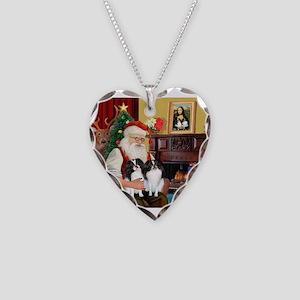Santa's 2 Japanese Chins Necklace Heart Charm