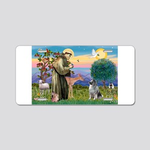 St Francis/Keeshond Aluminum License Plate