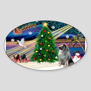 Xmas Magic & Keeshond Sticker (Oval)