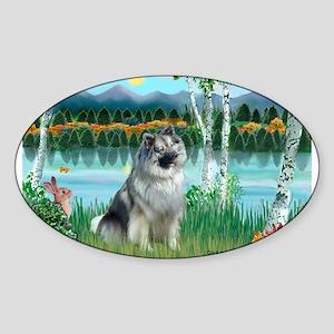 Birches/Keeshond Sticker (Oval)