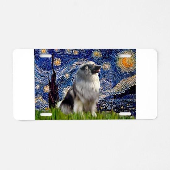Starry Night Keeshond Aluminum License Plate