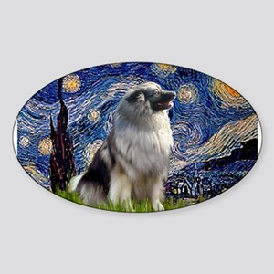 Starry Night Keeshond Sticker (Oval)