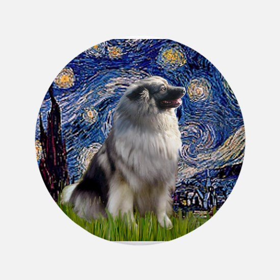 "Starry Night Keeshond 3.5"" Button"