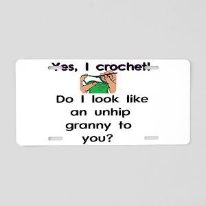 Crochet is hip! Aluminum License Plate