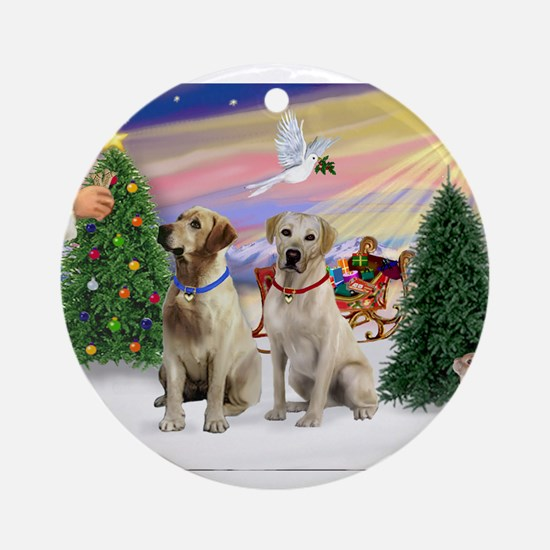 Treat for 2 Yellow Labs Ornament (Round)