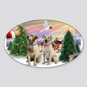 Treat for 2 Yellow Labs Sticker (Oval)