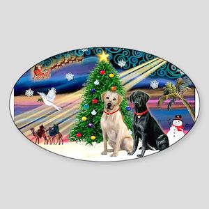 Xmas Magic/2 Labradors (Y+B) Sticker (Oval)
