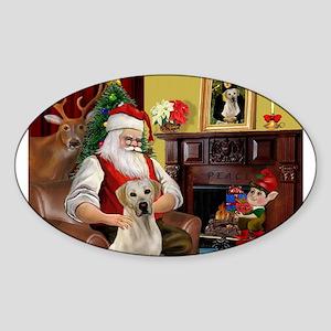 Santa's Yellow Lab #7 Sticker (Oval)