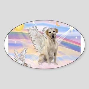 Yellow Labrador Angel Sticker (Oval)