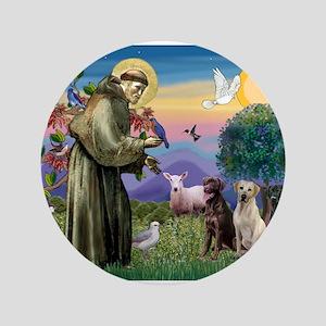 "Saint Francis / Three Labrado 3.5"" Button"