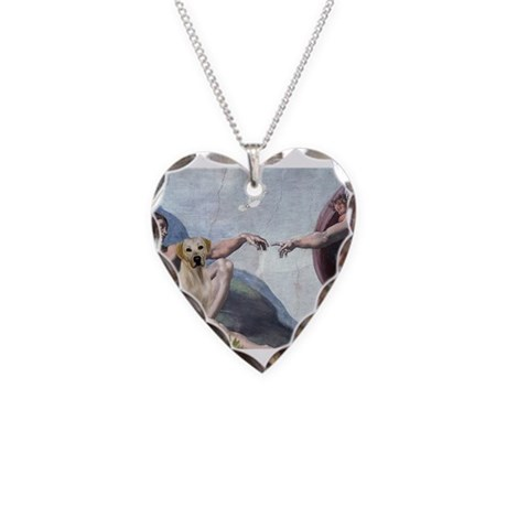 Creation & Yellow Lab Necklace Heart Charm